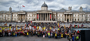 Demonstration auf dem Trafalgar Square in London
